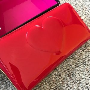 Betsey Johnson Red Boxed Zip Around Wallet